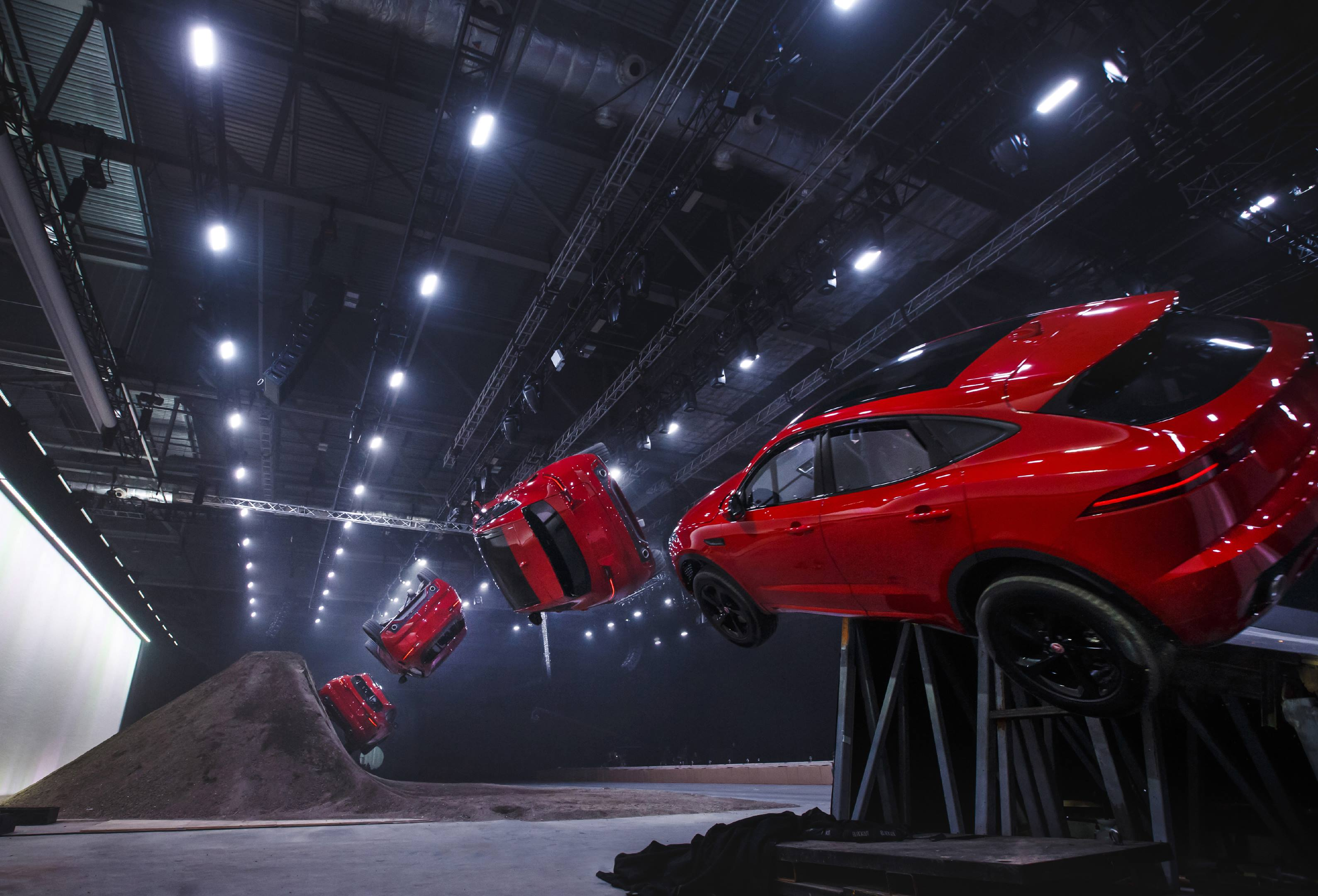 """When introducing the new E-Pace, Jaguar called its stunt a """"barrel roll."""" Just as with the Astro Spiral Jump, the ramp dropped away, and a fifth wheel kicked the rear end skyward."""