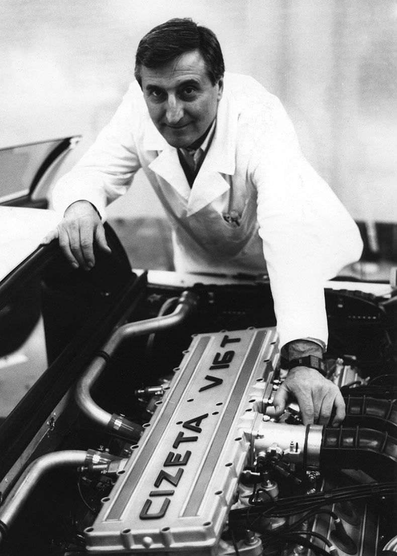 Claudio Zampolli working on the V16 engine for the Cizeta-Moroder V16T