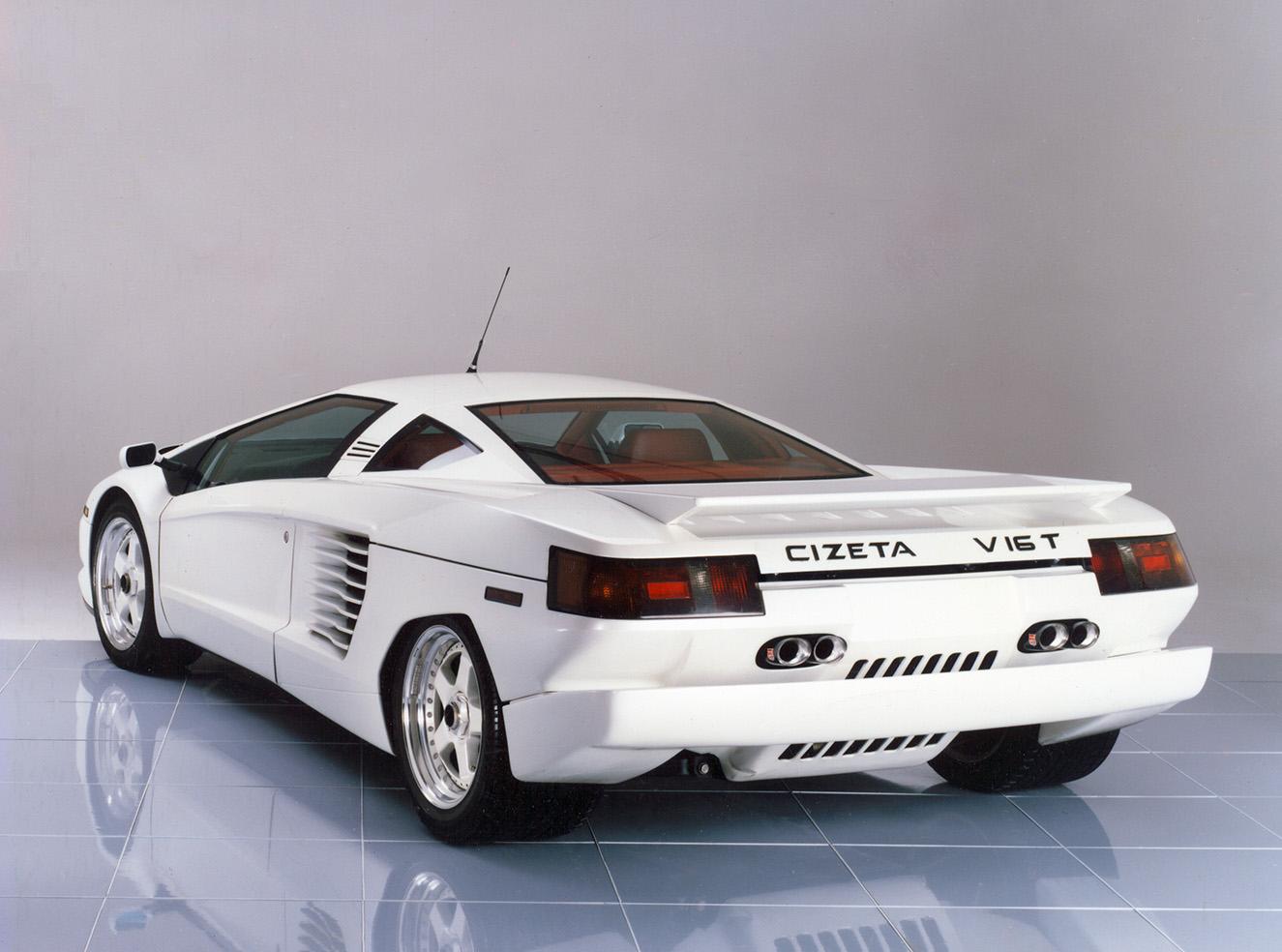 white Cizeta-Moroder V16T rear 3/4