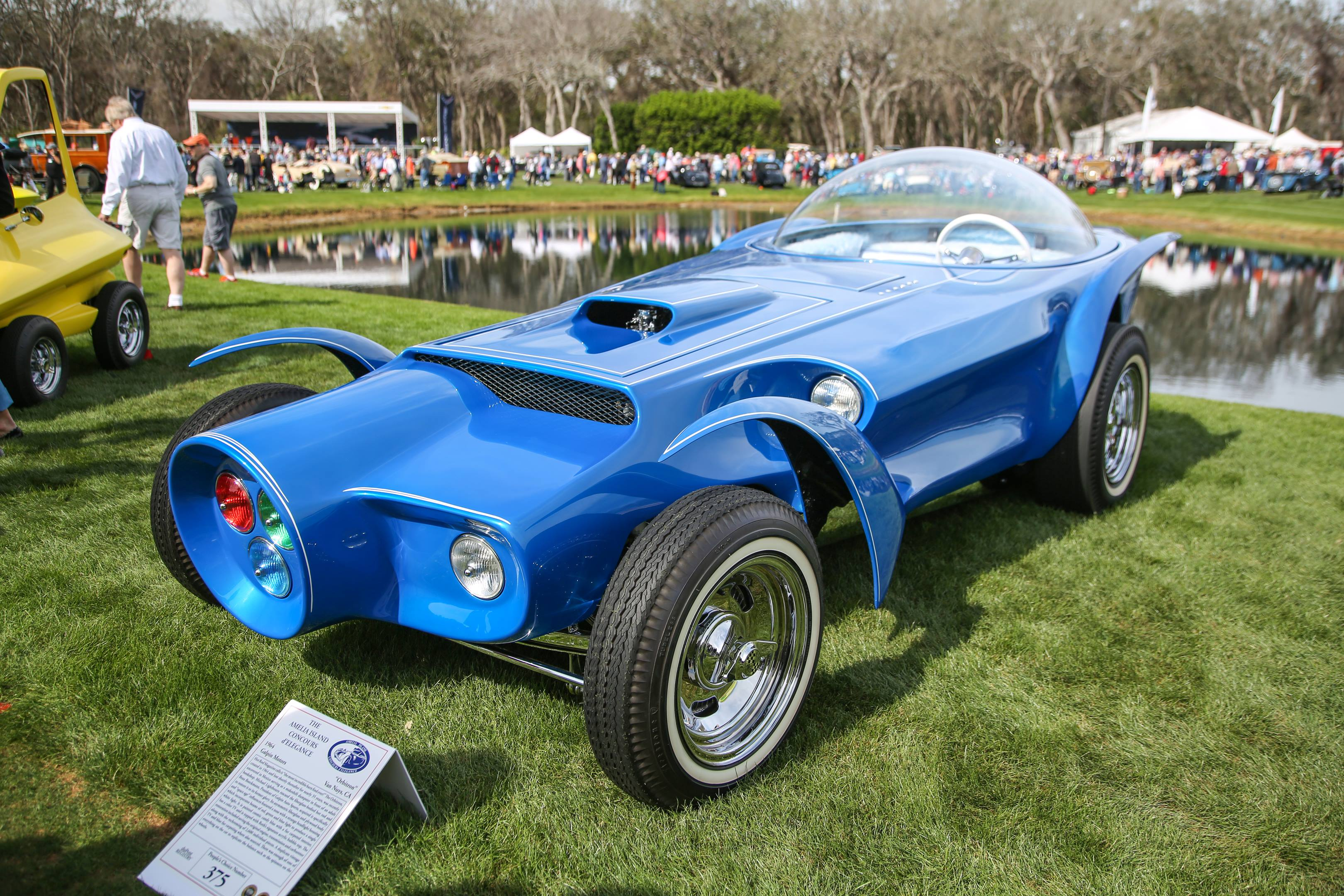 Orbitron was built in 1964 and was missing for years. The slingshot-dragster-inspired body was found in Mexico and was purchased by Beau Boeckmann, President of Galpin Auto Sports, where the car was restored.