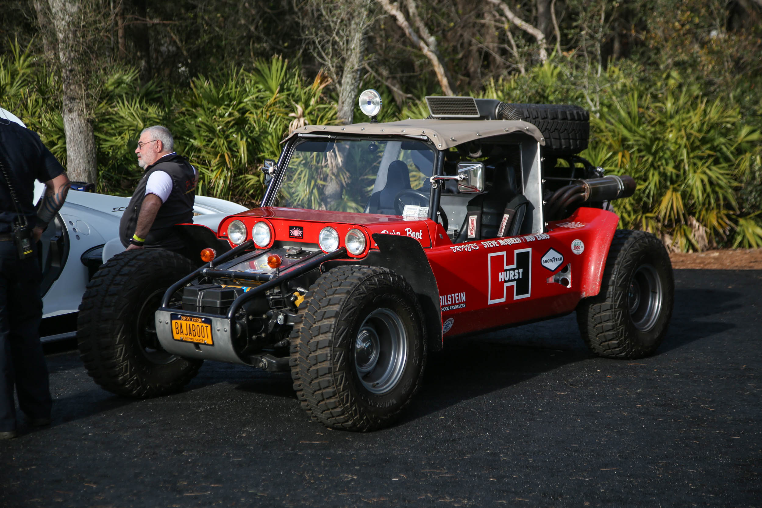 Steve McQueen and Bud Ekins raced the Baja Boot in the 1969 Mexican 1000, where transmission trouble ultimately ended their run. Ekins ran it in the Baja 500 later that year and won. As shown here, it has since been restored to its original 1967 look.