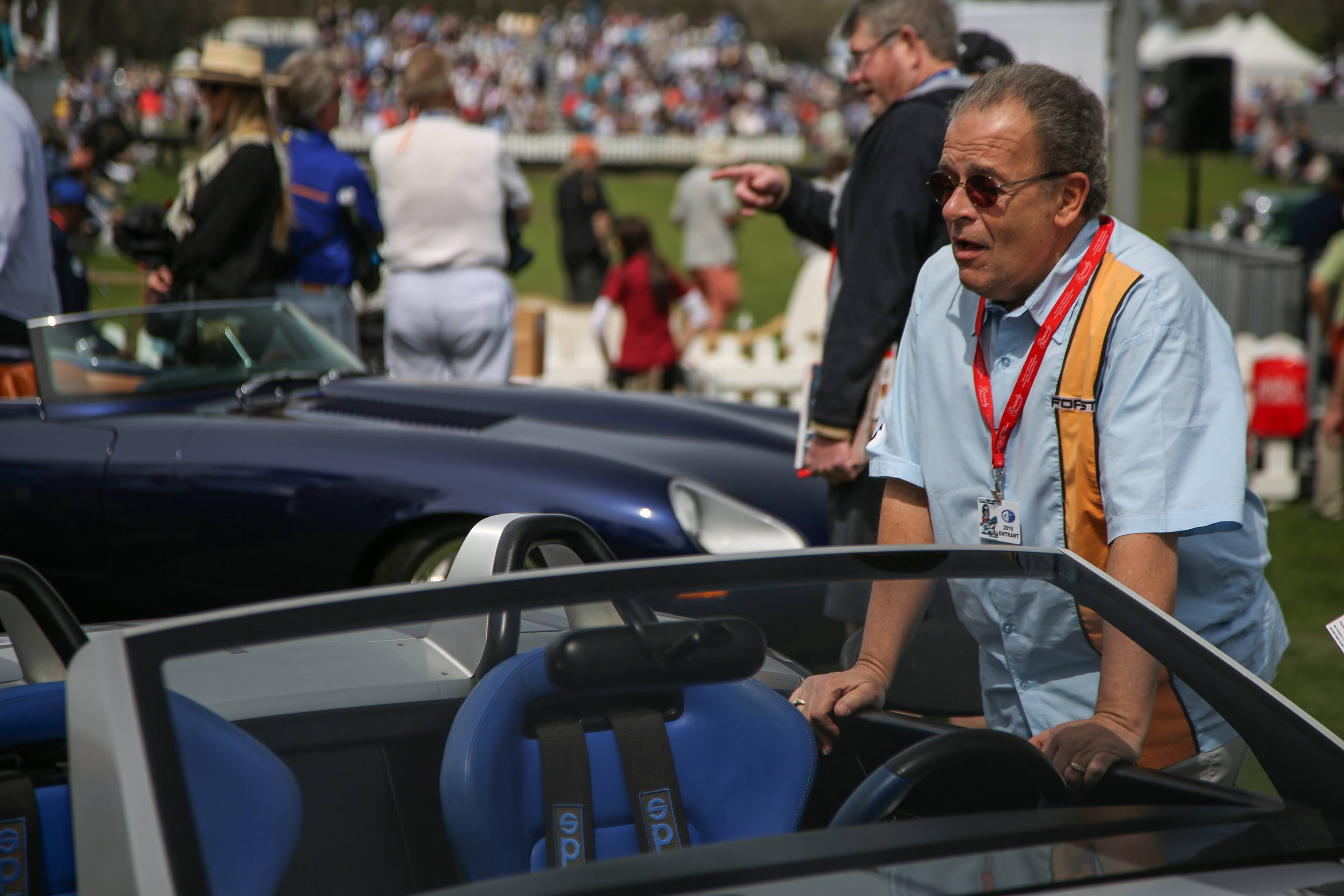 Chris Theodore fields questions about his Cobra concept at Amelia Island.