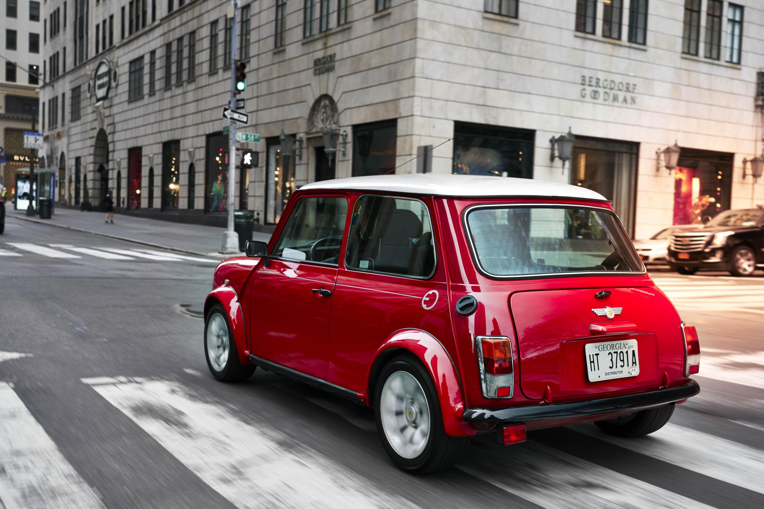 electric classic Mini driving rear 3/4
