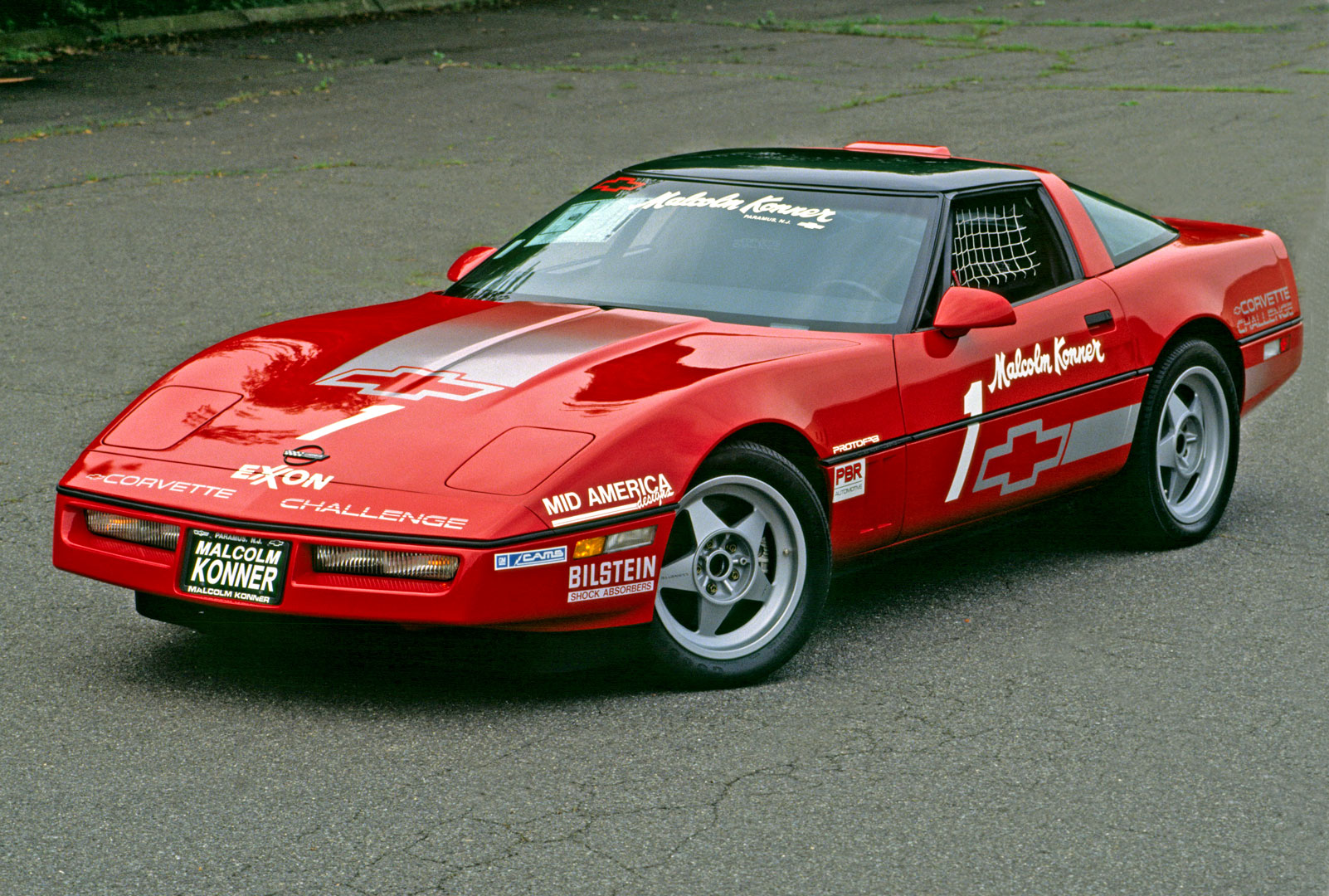 The #1 1988 Corvette Challenge car still owned by Gary Konner, who ordered the first 50 cars for the series while working at Malcolm Konner Chevrolet. Never raced, it remains a time capsule with 100 miles on the clock.