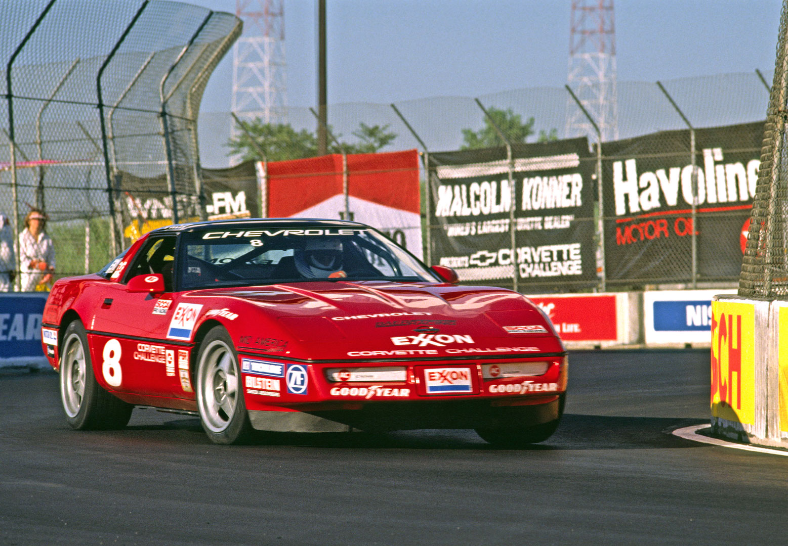 Mark Wolocatiuk driving in the Corvette Challenge at the 1988 Meadowlands IndyCar Grand Prix in New Jersey.