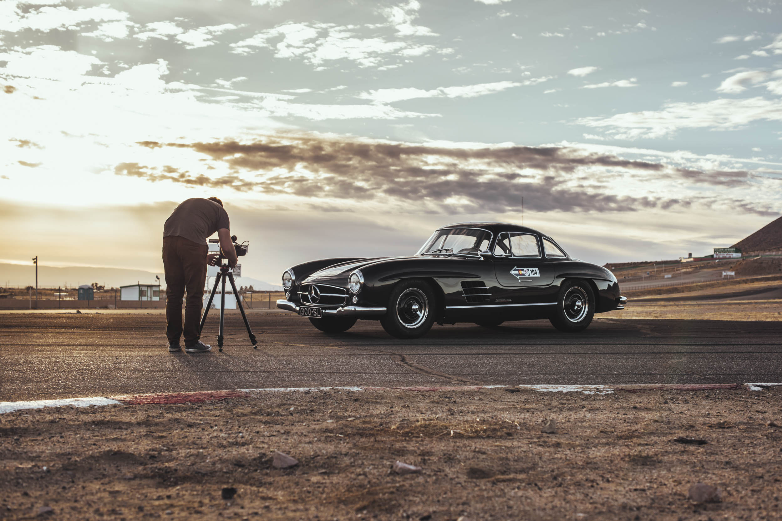 behind the scenes of Hagerty's Flat Out Gullwing shoot