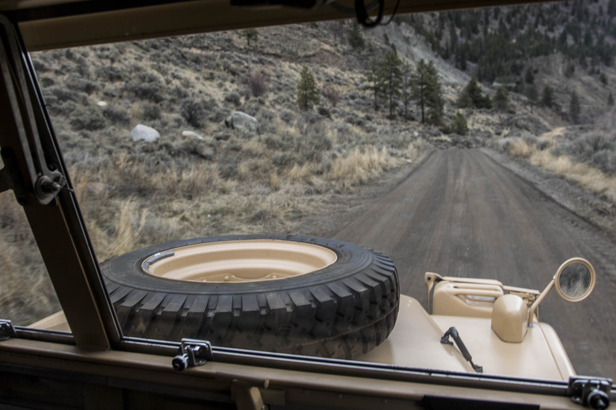 view from the passenger seat of the 1957 Land Rover the Grizzly Torque