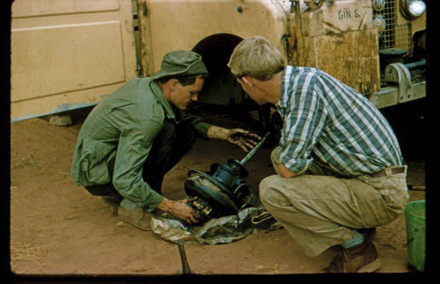 fixing the broken down 1957 Land Rover