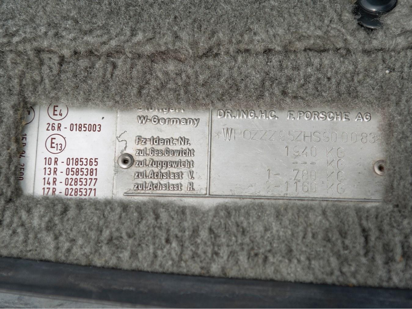 1987 Porsche 959 Komfort VIN plate