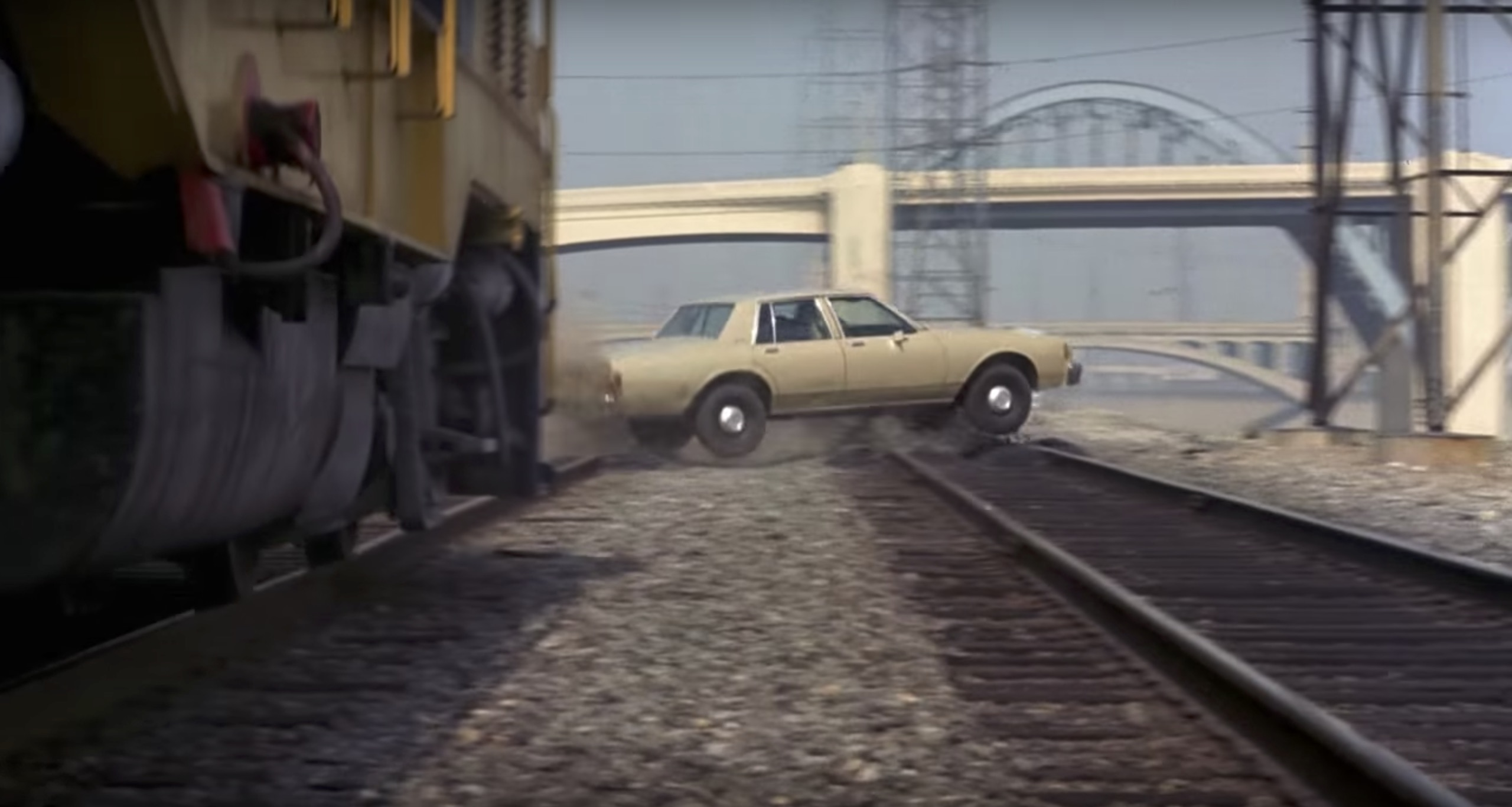 To Live and Die in L.A. jumping the train tracks