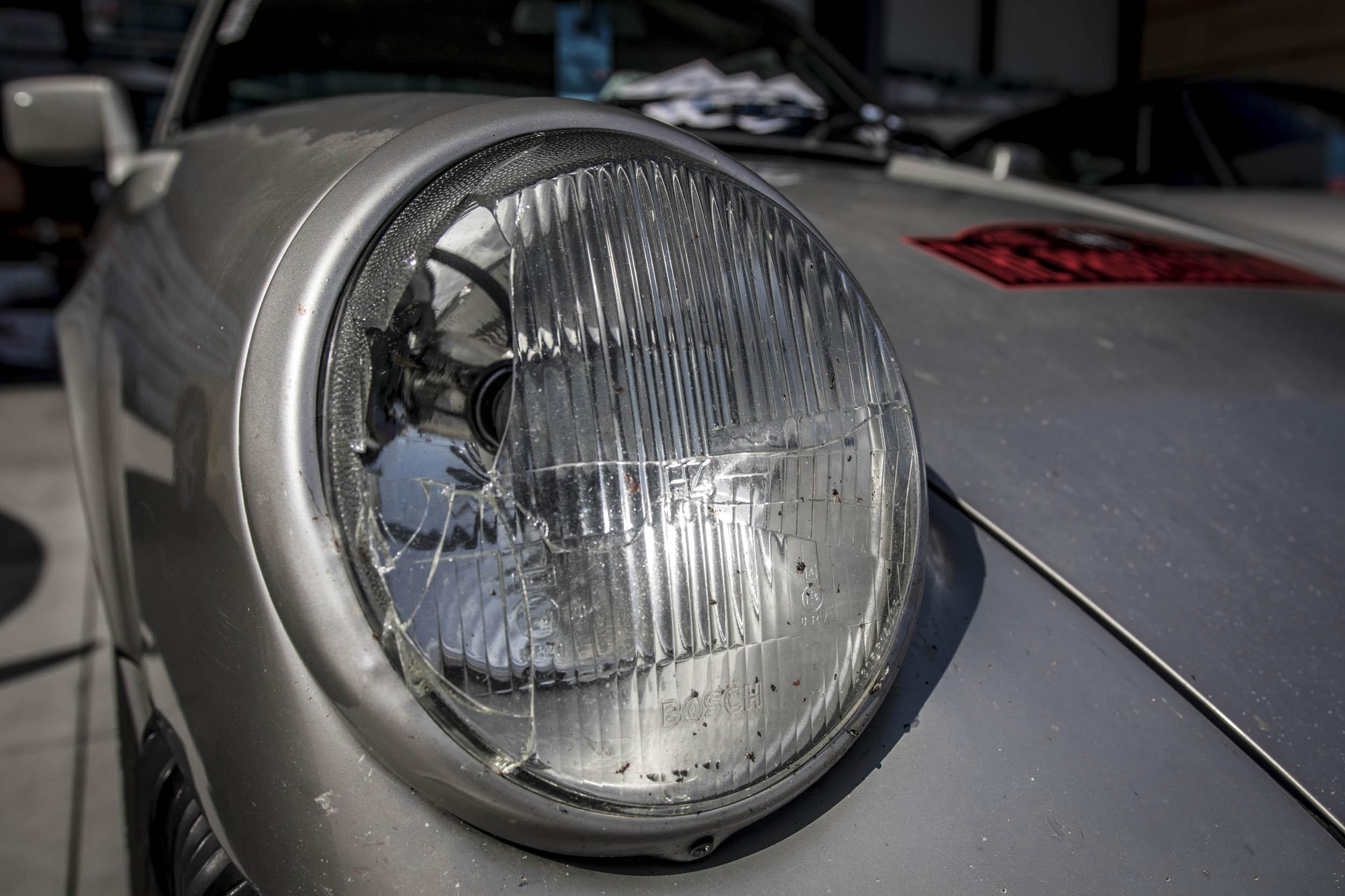 Broken 911 headlight