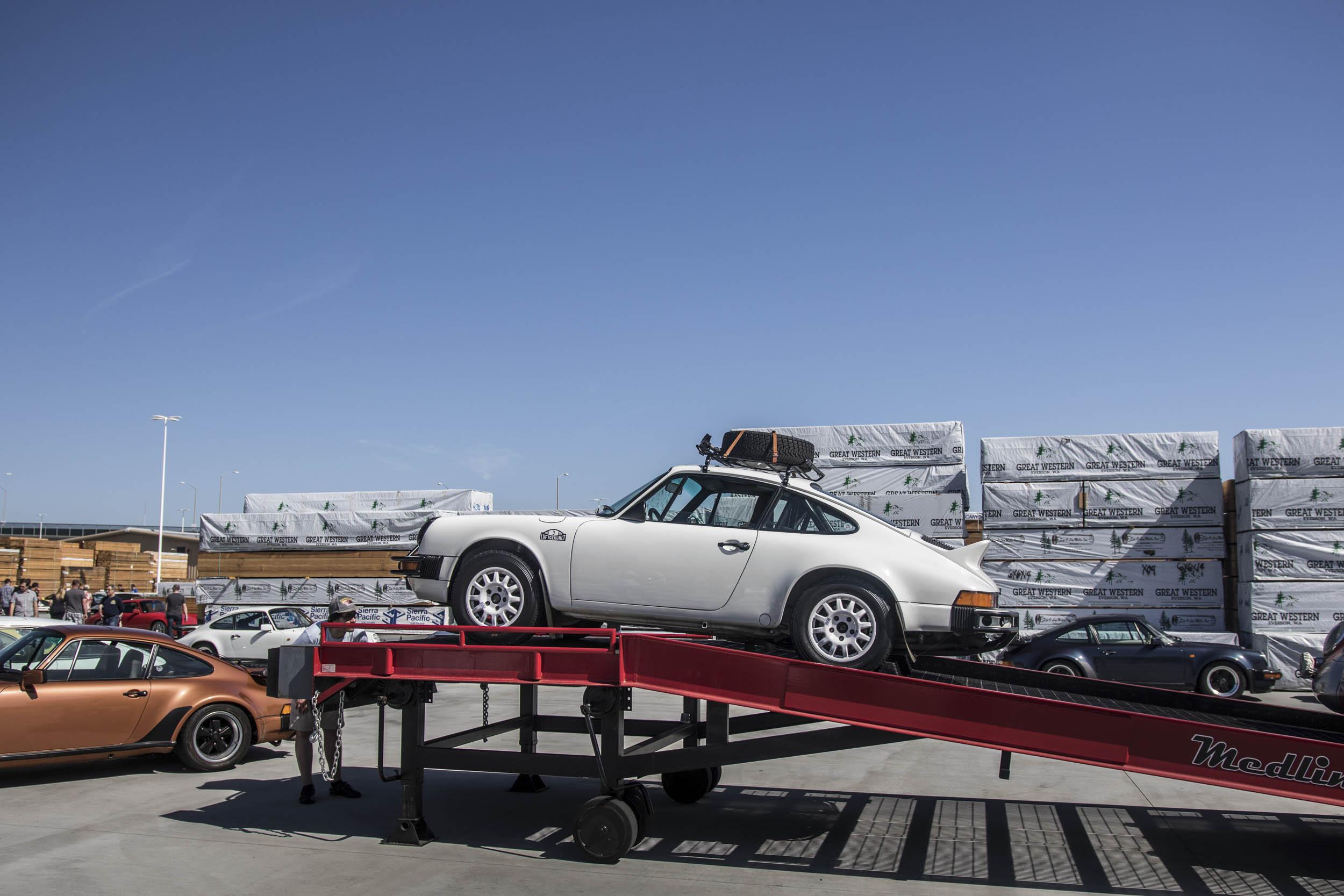 Porsche 911 on a trailer