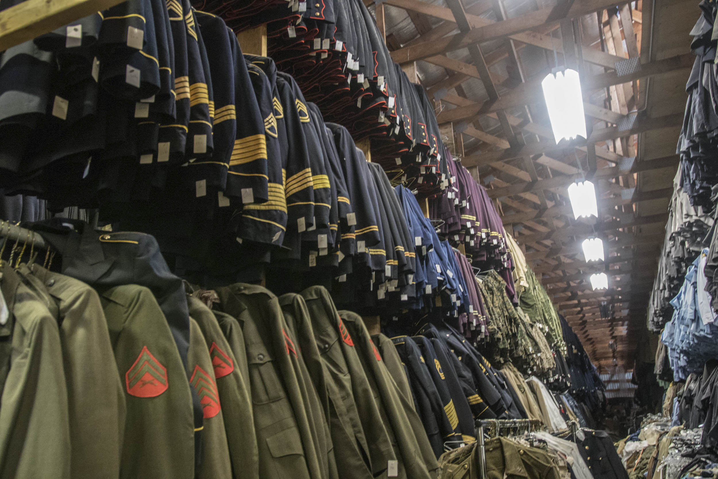 Some 10,000 uniforms fill the main warehouse, each one perfectly authentic. The average age is around 80 years old, as some of them date back to the Revolutionary War. Newby considers it a personal responsibility to be perfectly accurate to the period.