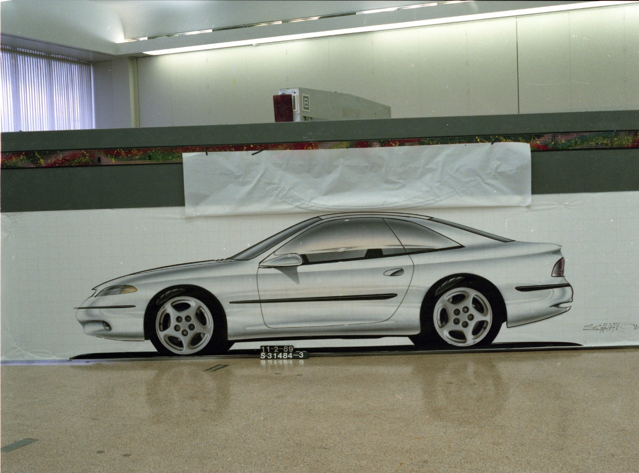 Dodge Avenger side profile of SN95 Mustang Early Design