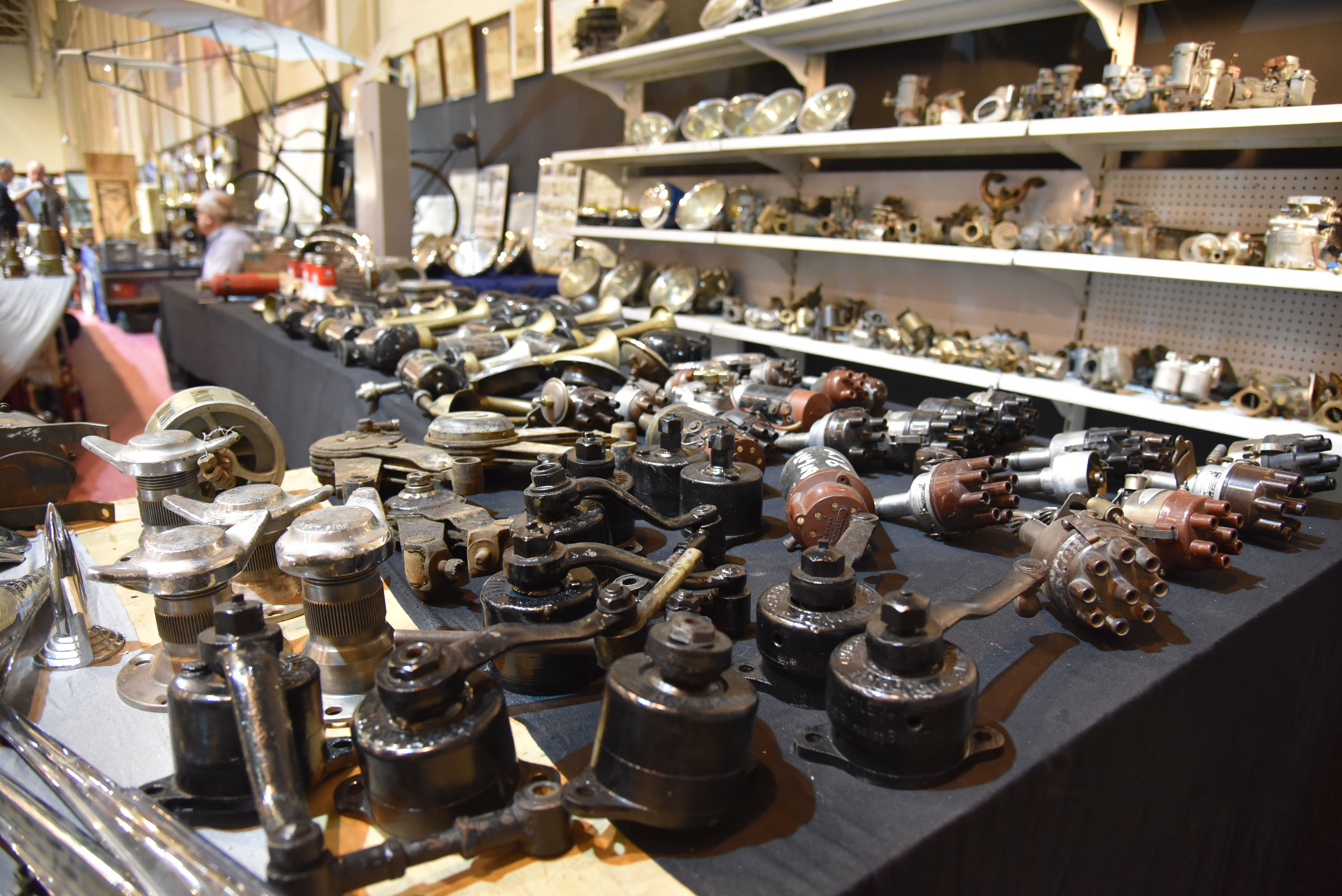 Many of the 2500 vendors at Techno Classica Essen are specialists, and it's not uncommon to see one whole booth of just headlights, next to another booth of just taillights, next to one of just Weber carburetors. This booth specialized in old friction-type and knee-action shock absorbers.