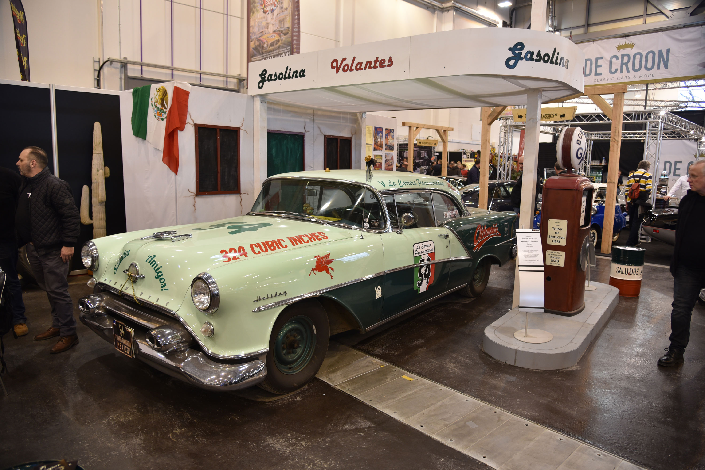 A 1955 Oldsmobile parked up in an old Mexican gas station was part of a booth intended to lure Europeans into competing in the annual La Carrera Panamericana vintage road rally in Mexico.