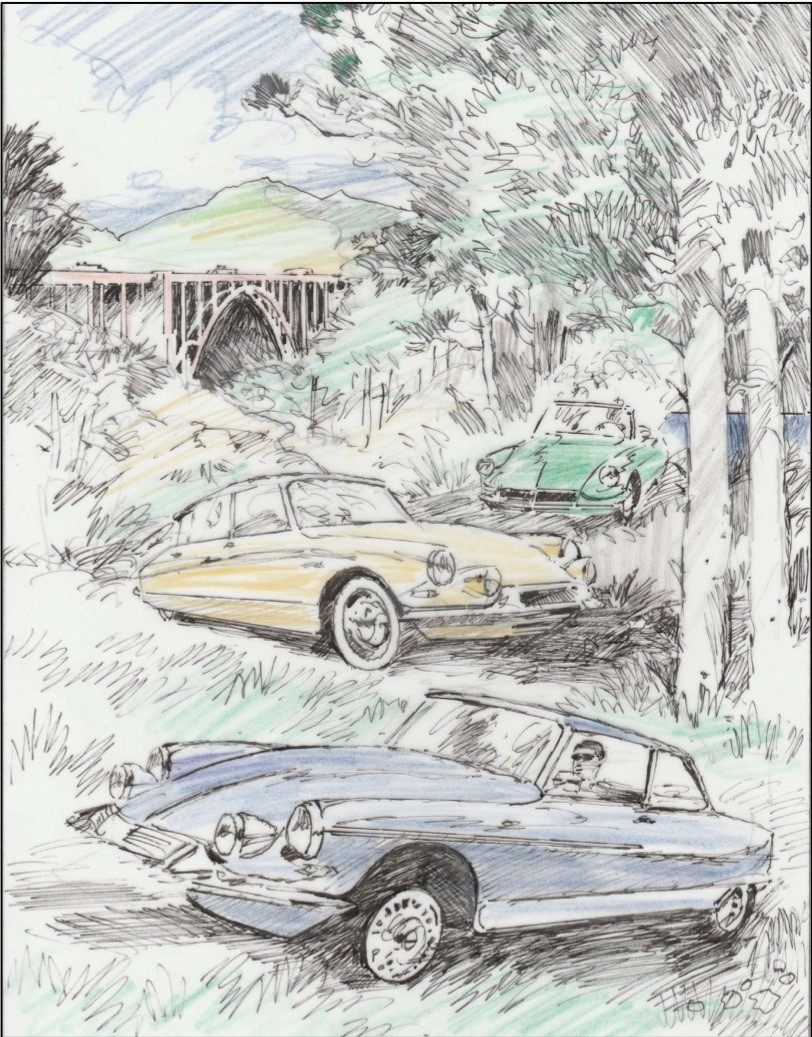 A sketch of Barry Rowe's commemorative Pebble Beach Tour d'Elegance poster