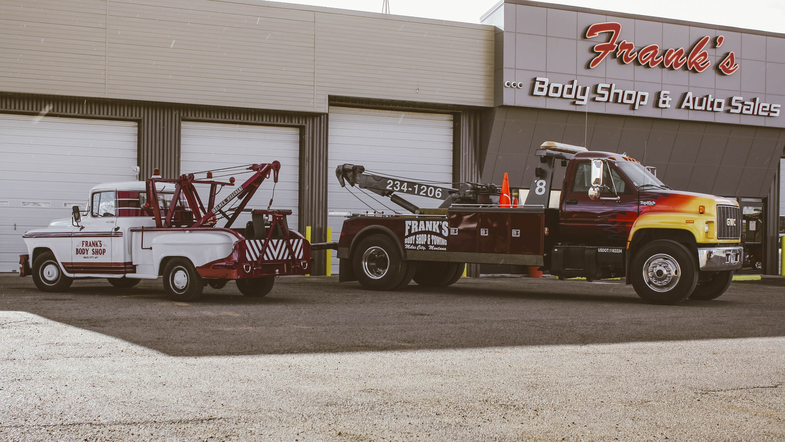 Parked alongside one of the shop's newer medium-duty wreckers the 3/4-ton Chevrolet is dwarfed. Though Tim changed the look of the trucks paint scheme in the early 2000s, he kept a few of the colors to pay homage to the legacy his father built.