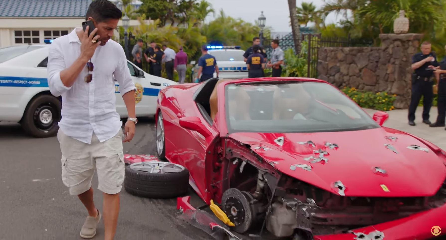 Ferrari 488 Spider after being shot at
