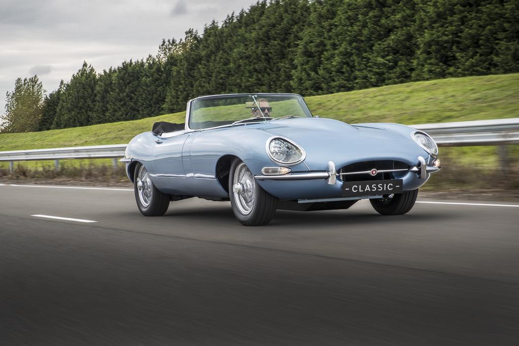 Jaguar E-Type Zero Concept Driving 3/4 view