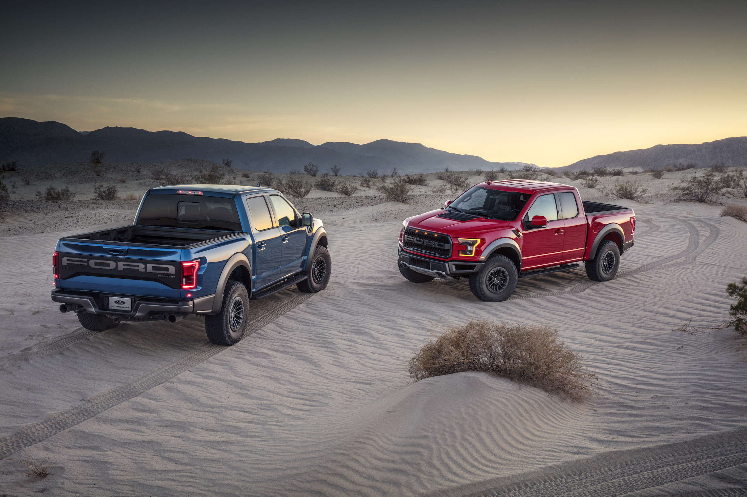2019 Ford F-150 Raptor Red and Blue Sand Dunes