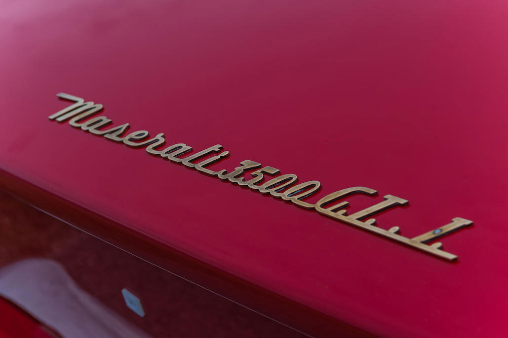 Maserati badge on 1963 Maserati Sebring 3500GTi Series 1