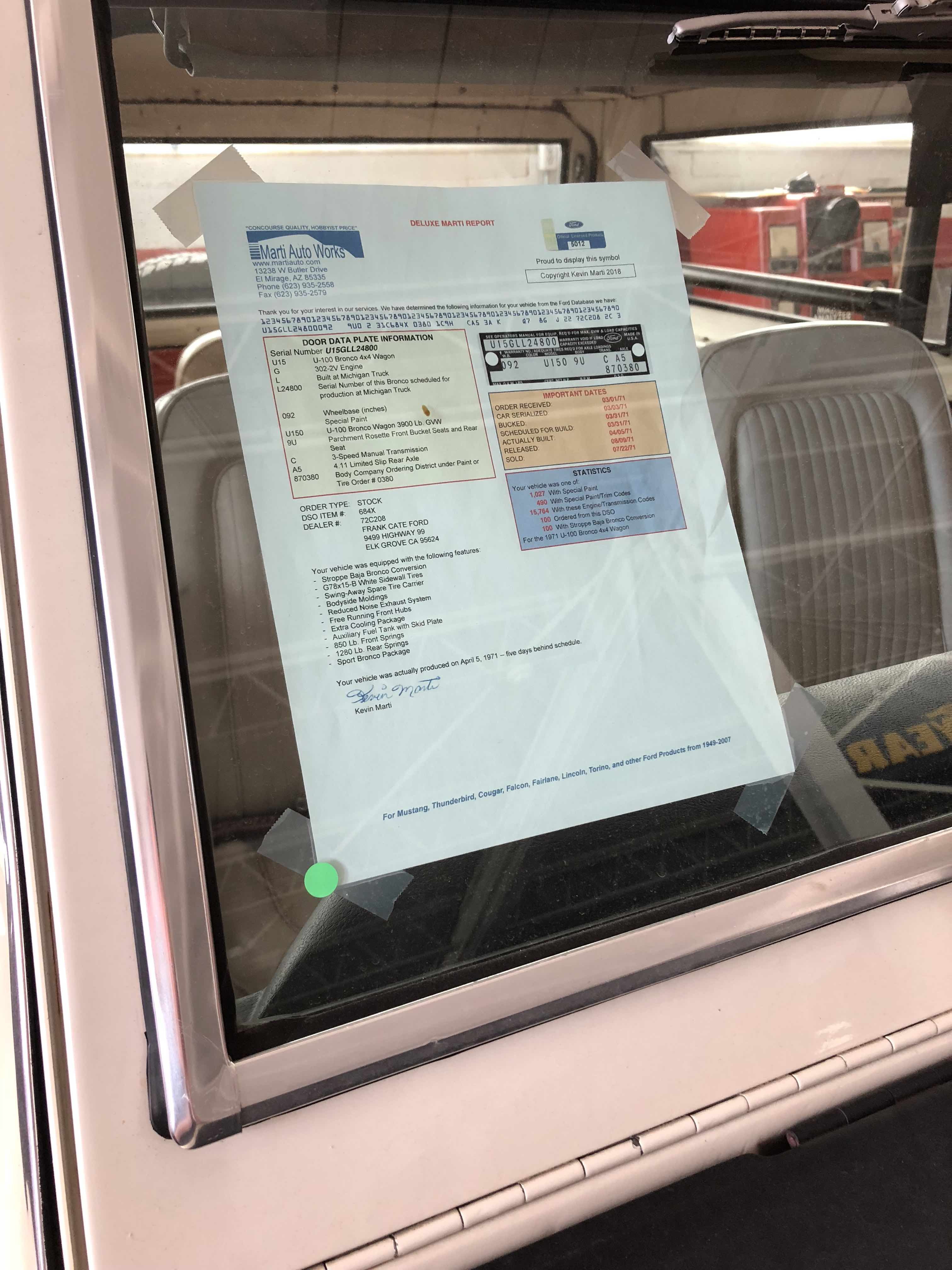 If you have important paperwork to document your vehicle post copies on the car- and bring extras as some unscrupulous bidders will sometimes help these copies disappear before the car hits the block.