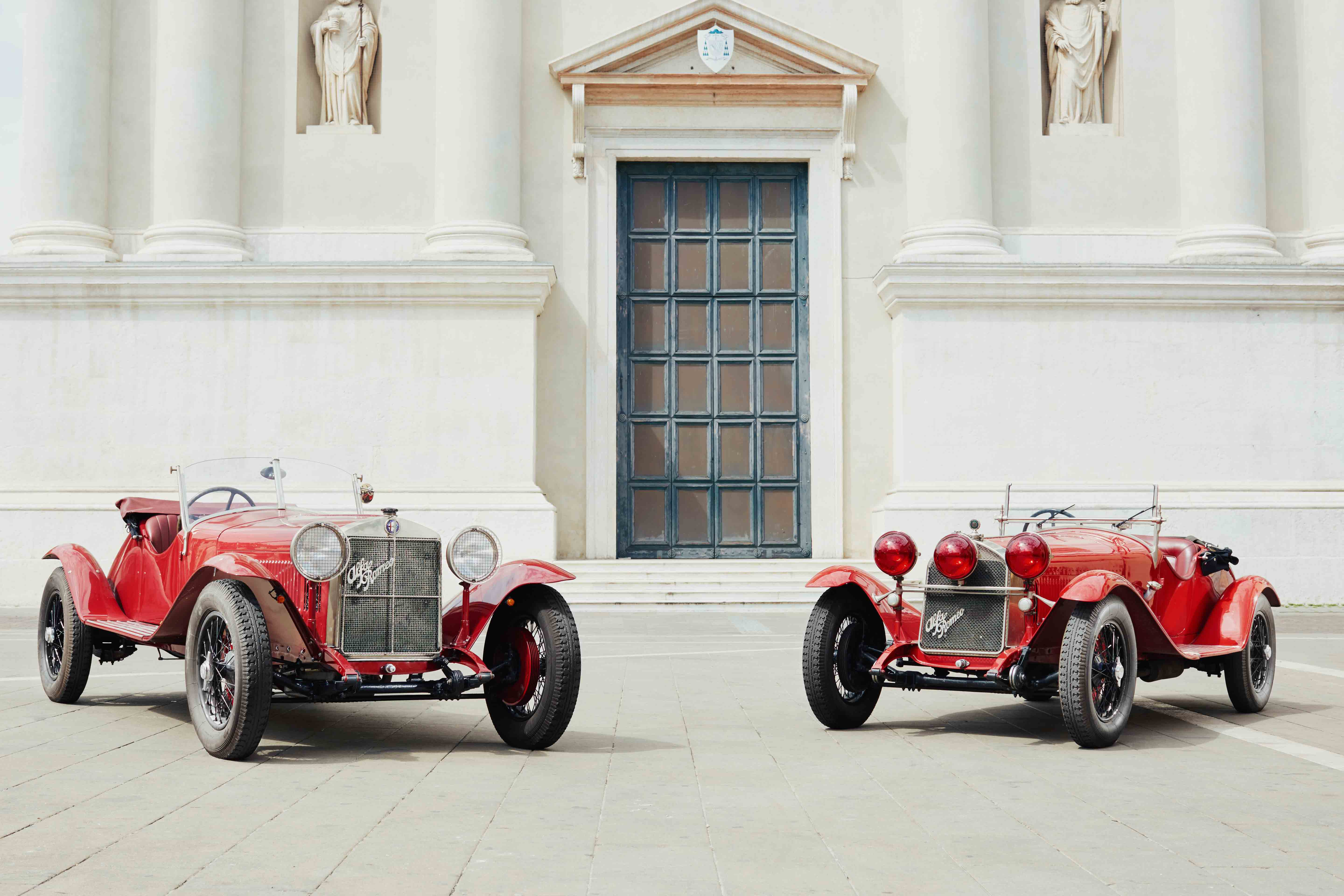 1928 Alfa Romeo 1500 Super Sport and 6C 1750 Gran Sport from the FCA Heritage collection stand ready for the 2018 Mille Miglia