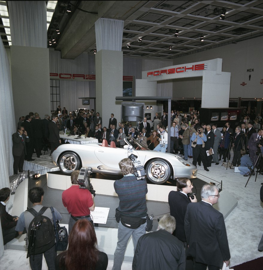 """The Boxster was the instant hit of the 1993 North American International Auto Show in Detroit. AutoWeek named it """"Best in Show."""""""
