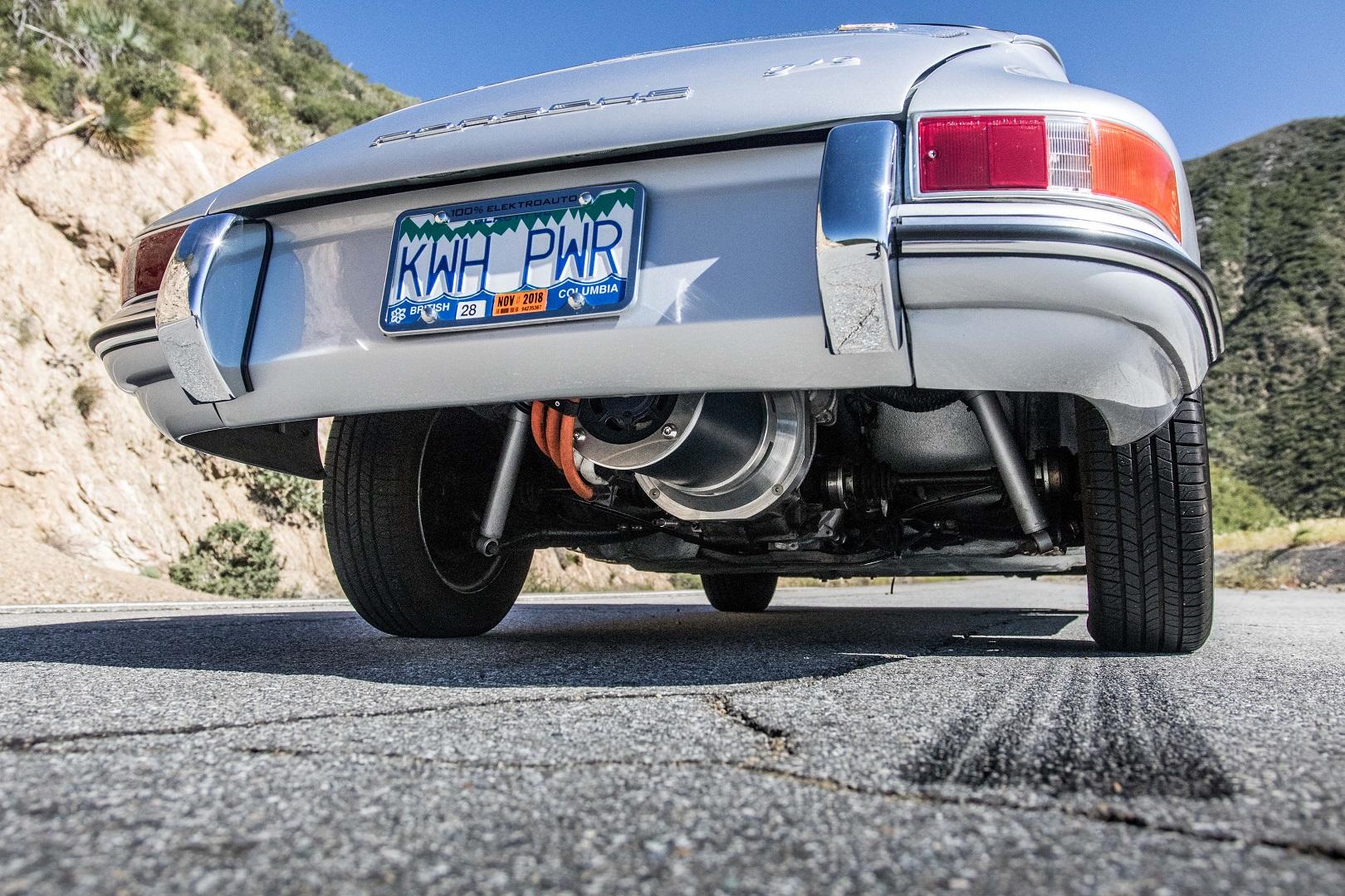 Electric Porsche 912 underside rear