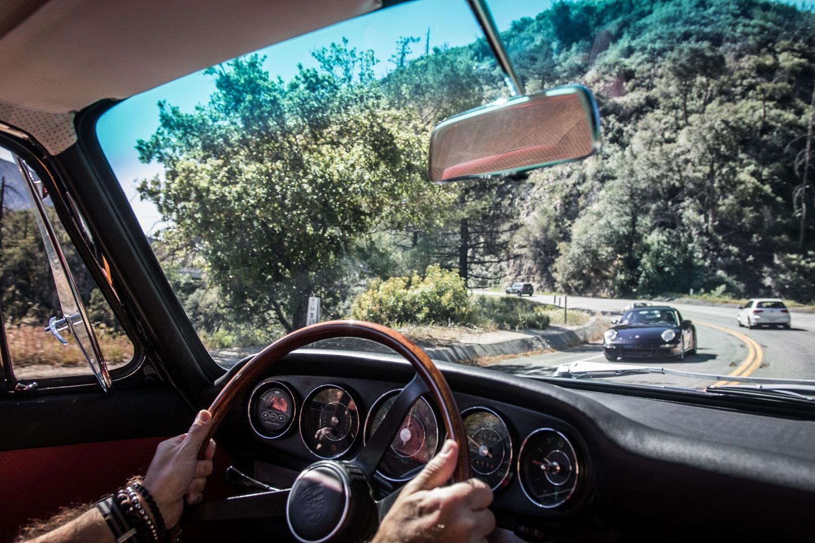 Electric Porsche 912 behind the wheel