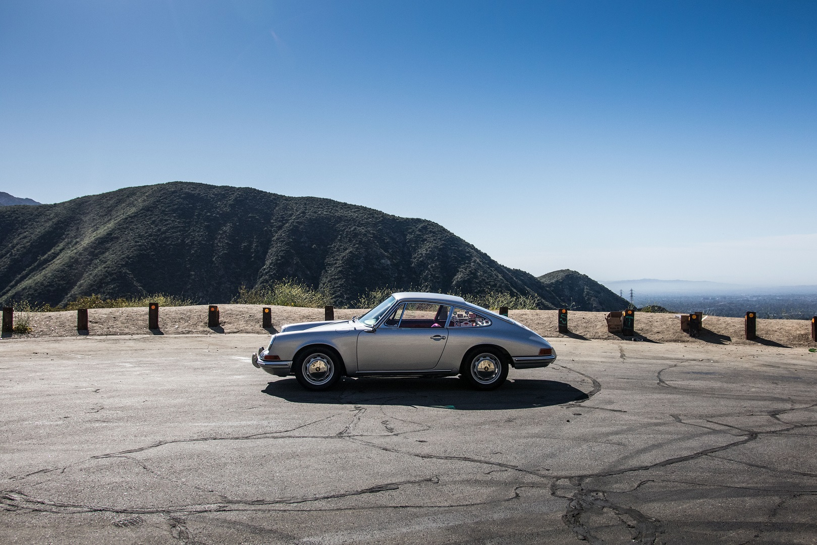 Electric Porsche 912 Side view with mountain