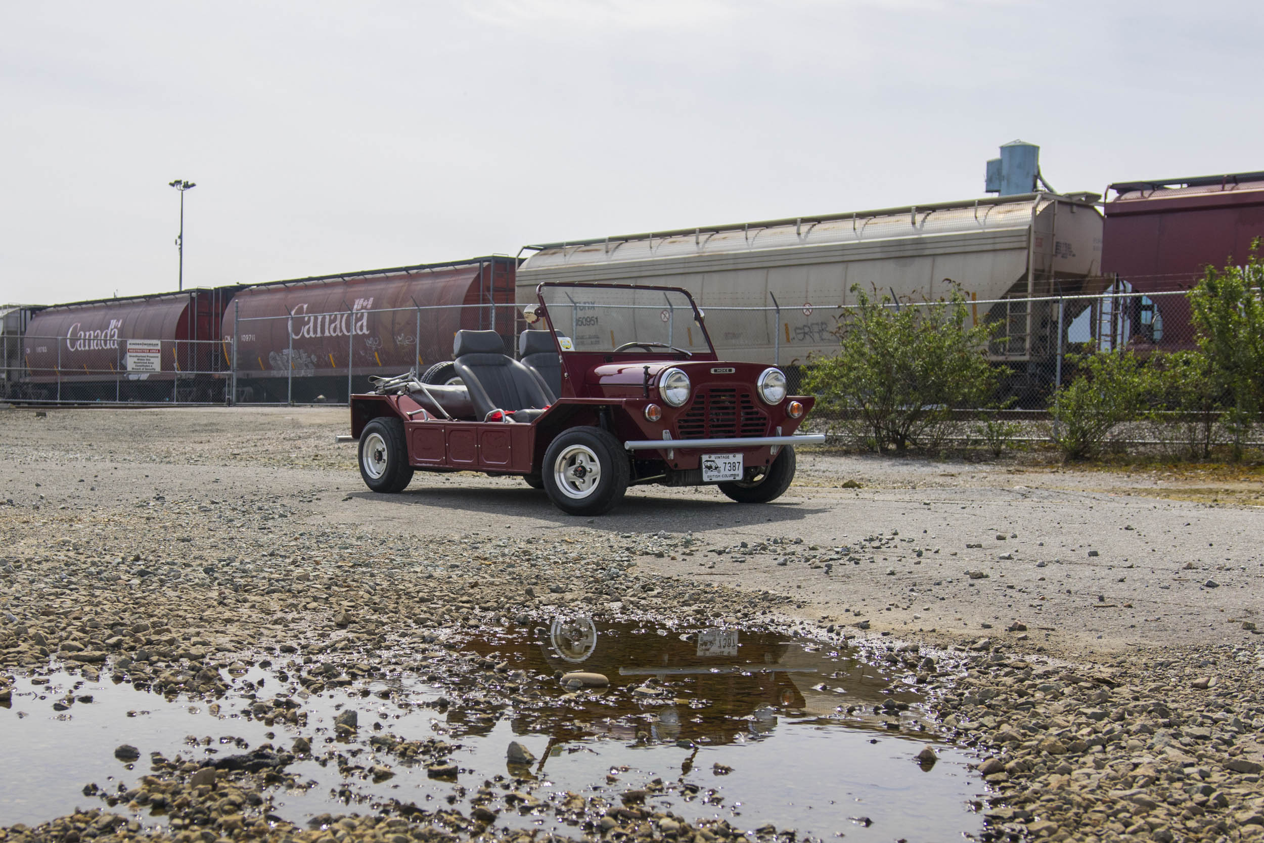 While it would probably get stuck in that puddle, the Moke is nonetheless endless fun on the road. It's very lightweight, the handling is just as good as a Mini, and all sorts of Cooper S bits can be bolted on to make it go faster.