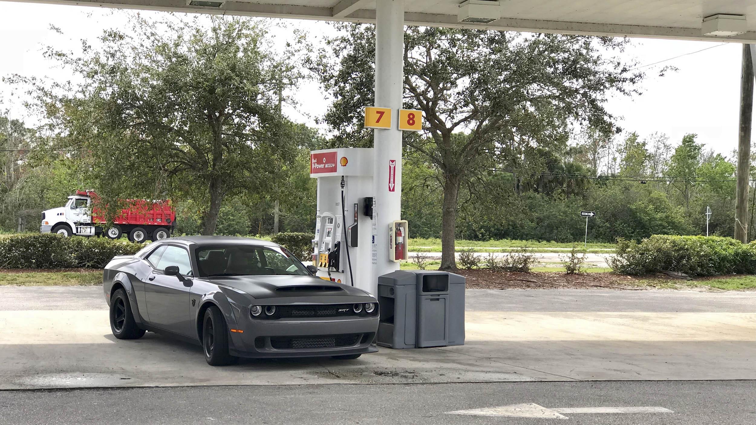 2018 Dodge Challenger SRT Demon getting gas