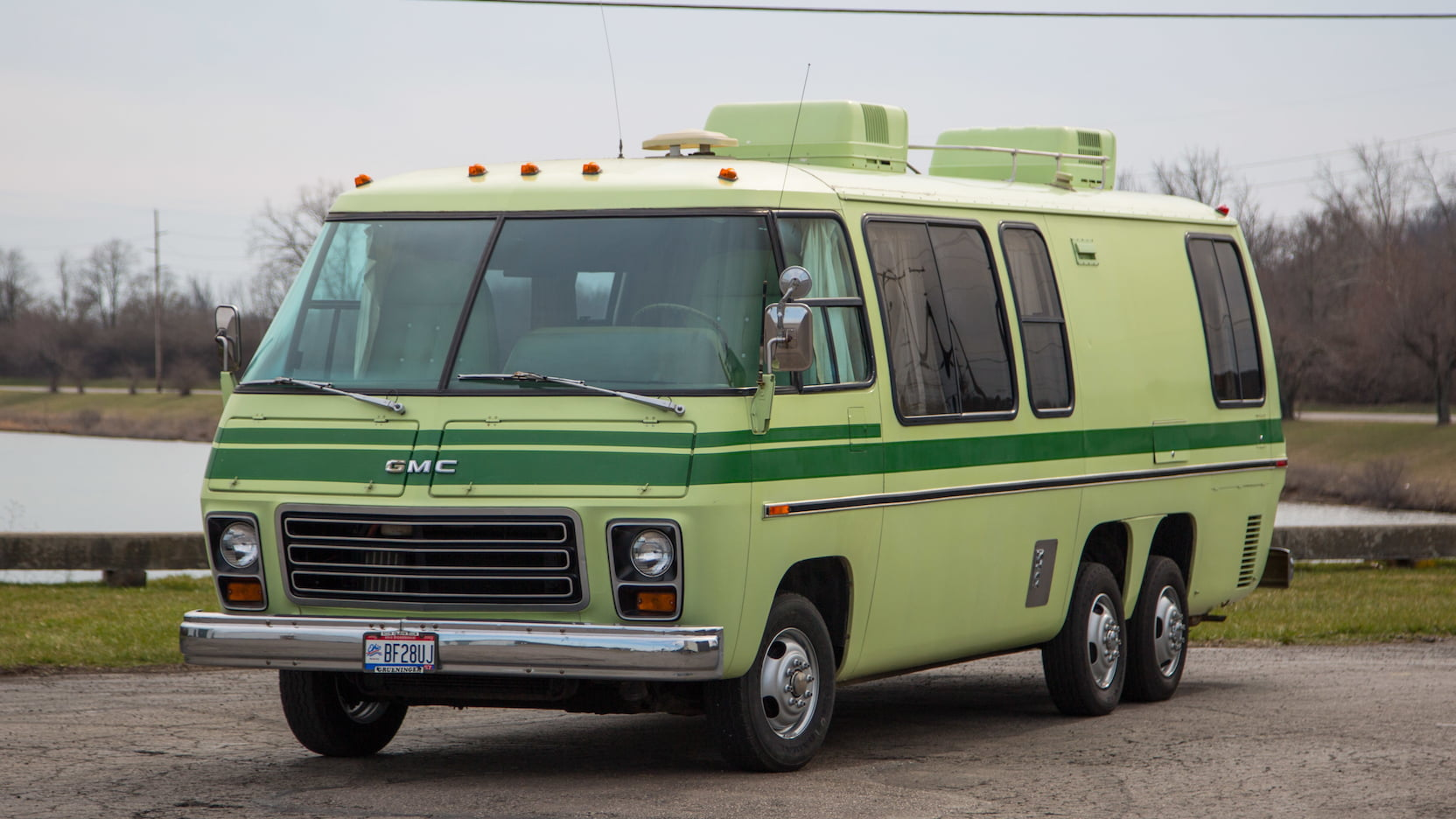 1976 GMC Motorhome lime green