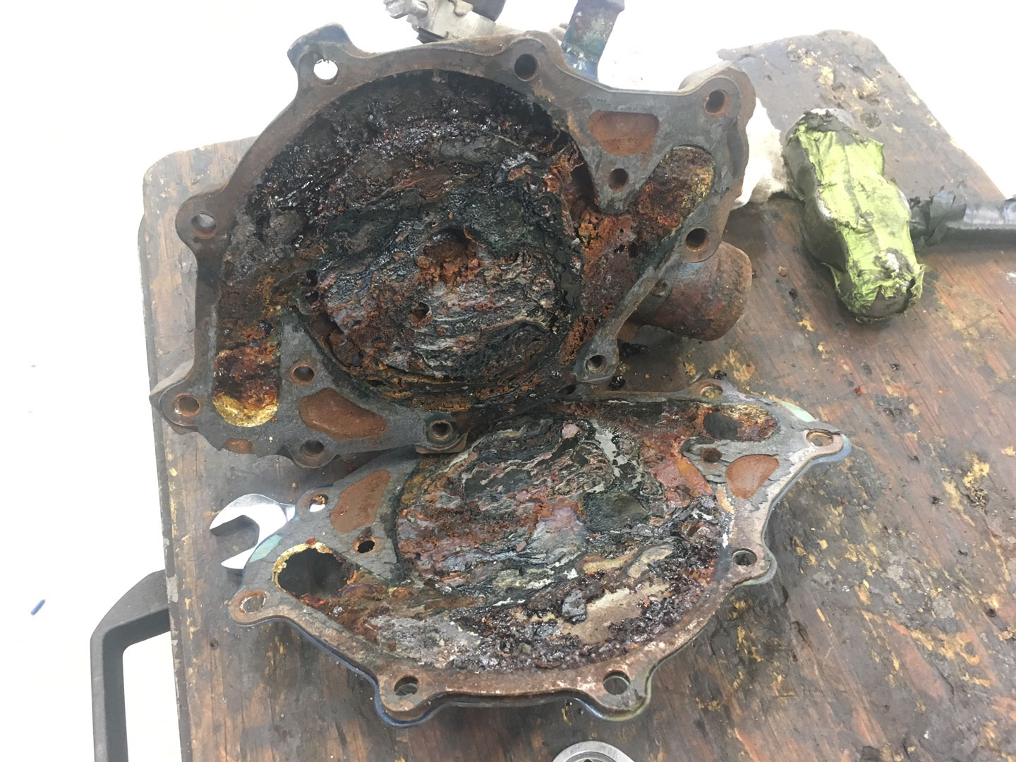 dirty oily engine parts