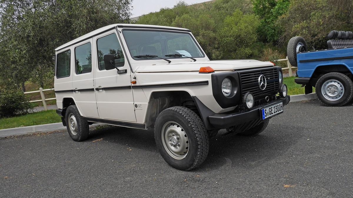 Mercedes-Benz G-wagen white on pavement