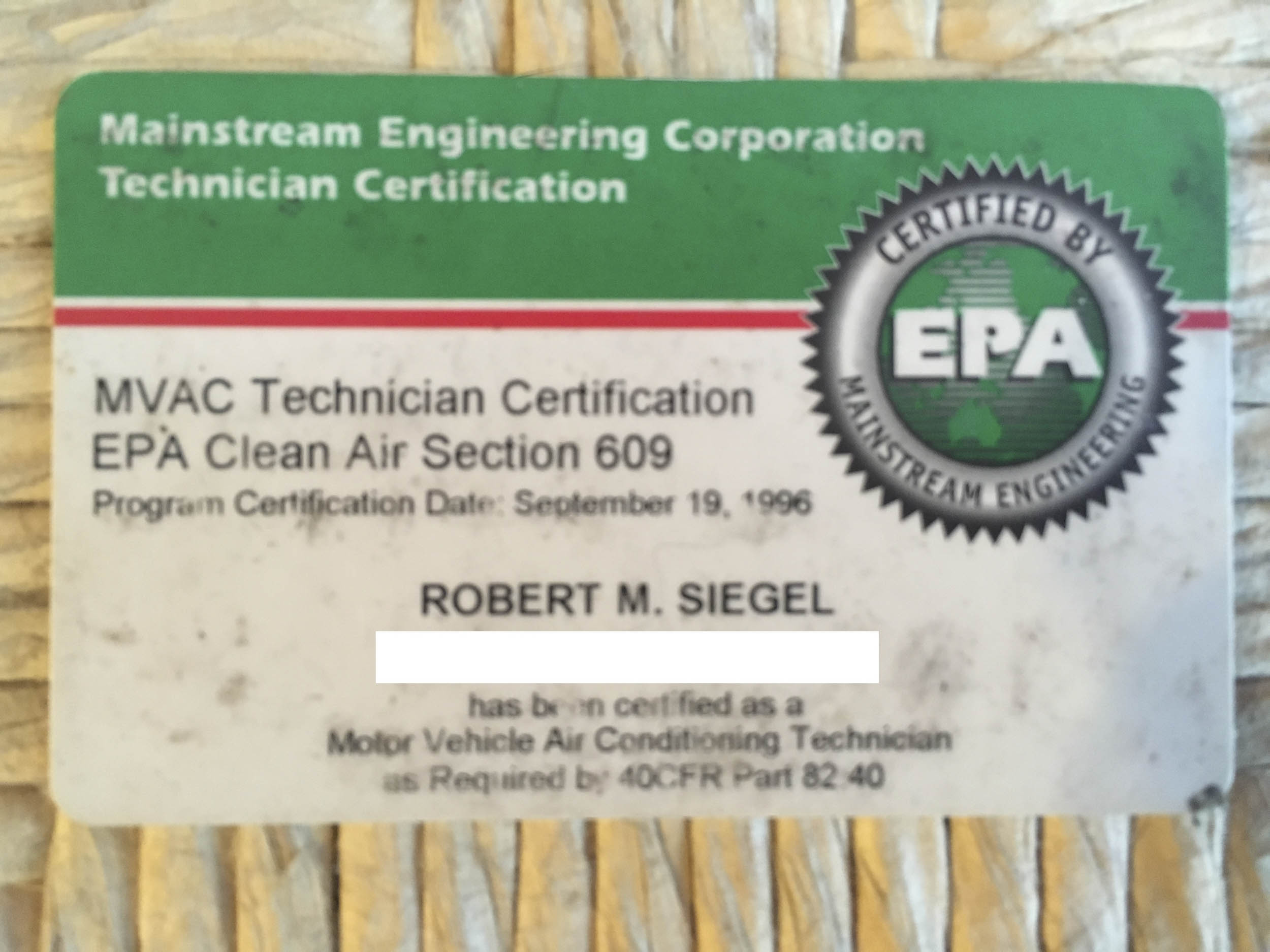 My EPA 609 card that lets me legally buy R12.