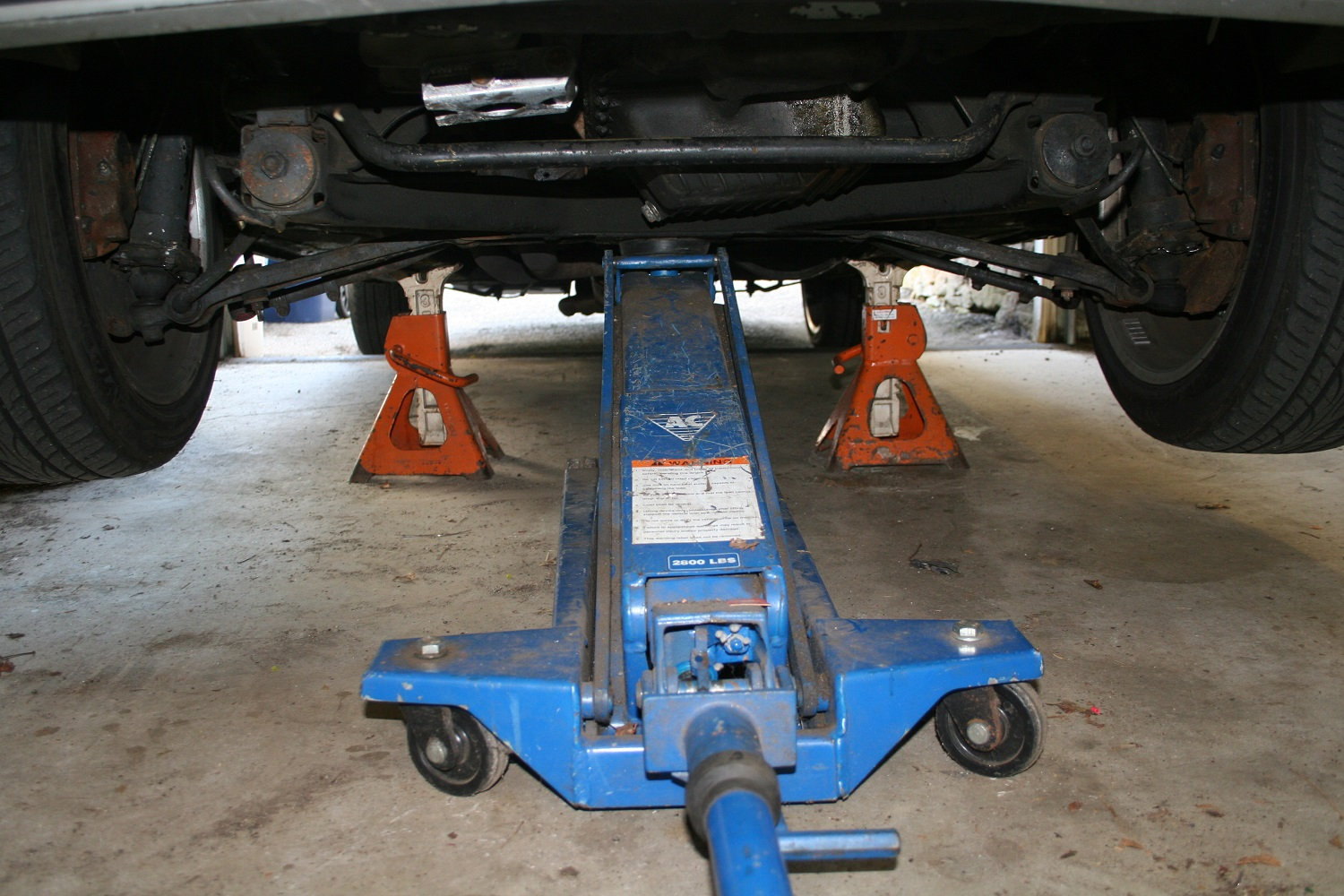 Always double-jack a car (jack it up, set it down on jack stands, and leave the floor jack in place as a back up) before putting any part of your body beneath it.