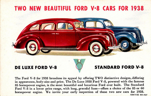 1938 Ford Fordor Advertisement Red Blue