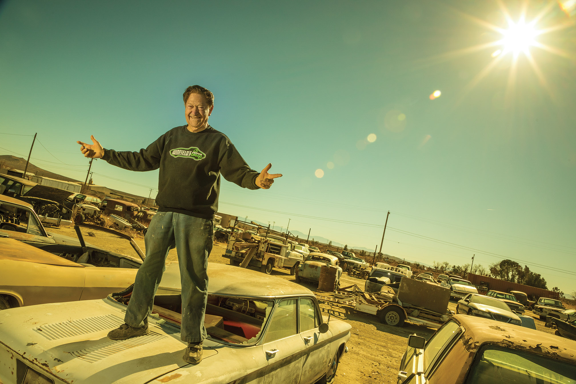 Gene Winfield reigns over his arid dominion, which was once a five-acre wrecking yard.