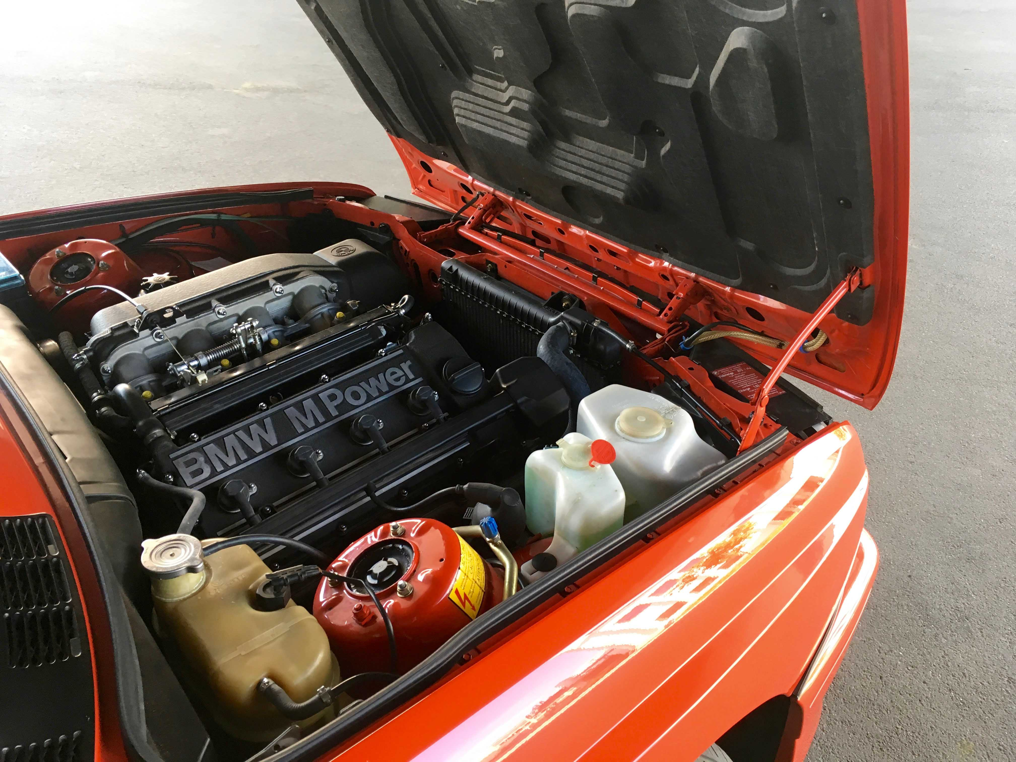 1987 BMW M3 Engine Bay hood up