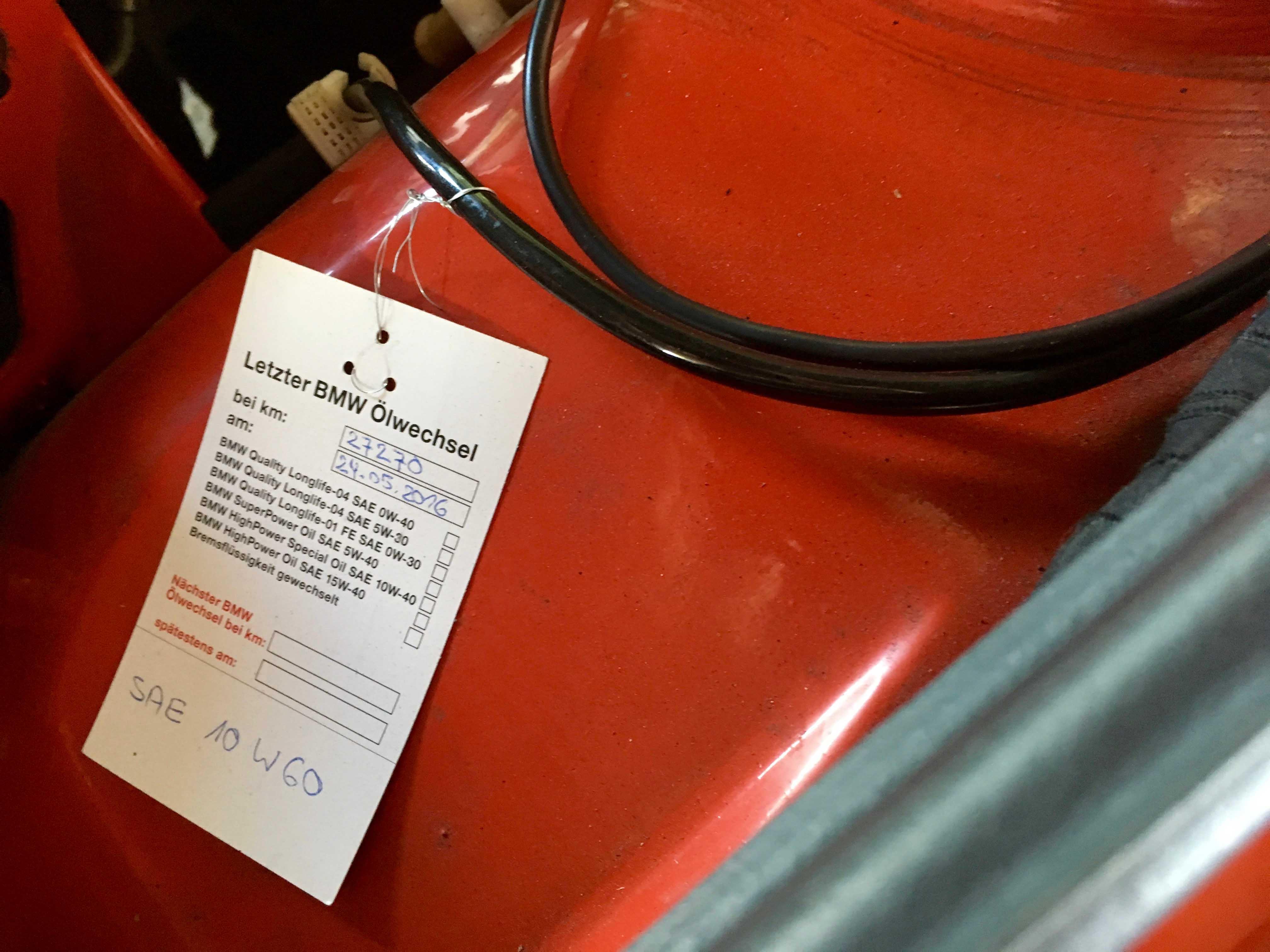 1987 BMW M3 Factory engine tag