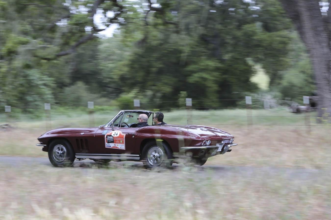 1965 Chevrolet Corvette driving through a field