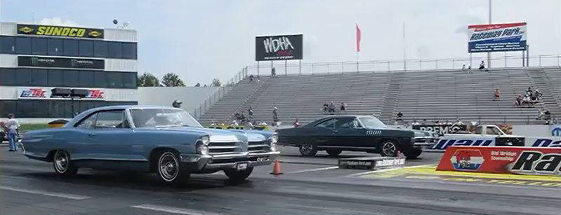 Jack Anderson's '65 Pontiac 2+2 takes on a '67 Bonneville at the now-defunct Englishtown drag strip in New Jersey in 2017. HIs 2+2 has run a best of 13.79 at 104 mph.