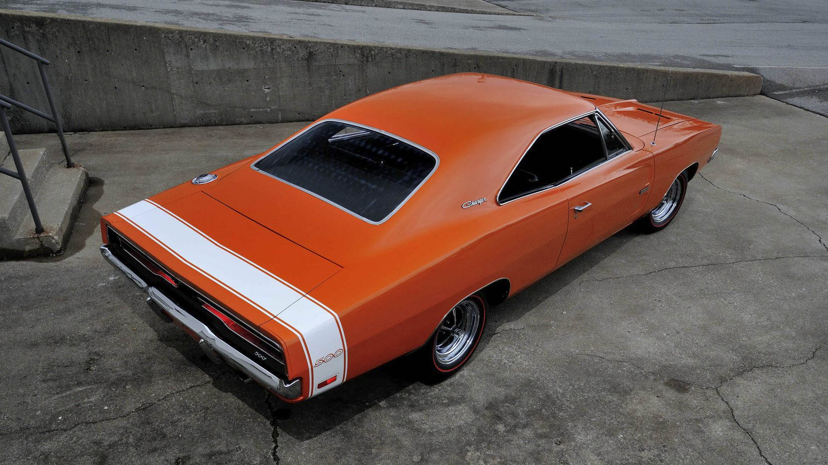 1969 Dodge Charger 500 overhead rear 3/4
