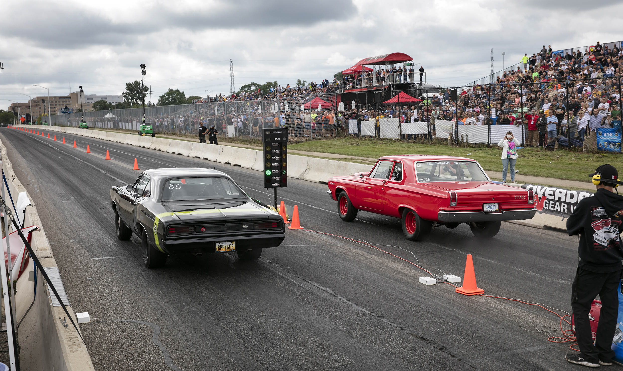 Roadkill Nights Powered by Dodge car lined up at the start line