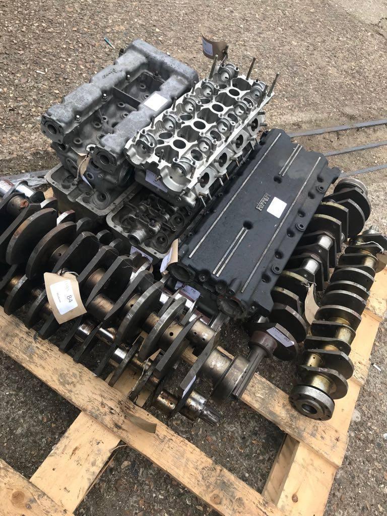 A pallet of Ferrari V12 parts crankshaft heads