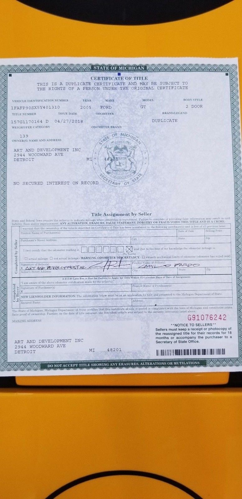 solar 7 ford gt certificate of title