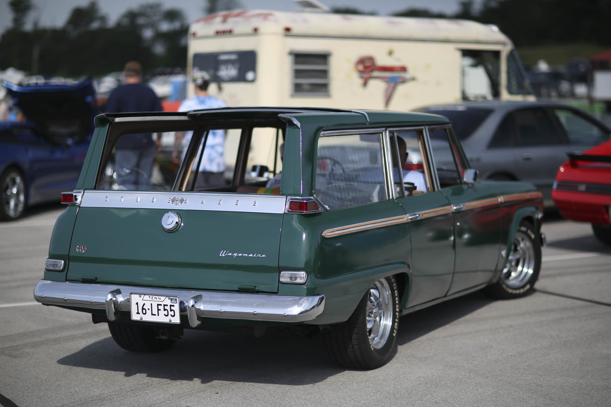 Wagons are perfect for the Power Tour, and we saw dozens of beautiful longroofs. This rare Studebaker Wagonaire, with its retractable rear roof panel, drew plenty of attention.